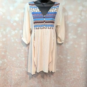 Umgee USA Boho Flowy Button Blouse Ribbon Detail